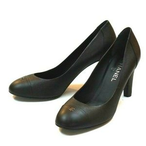 Chanel CC Logo Black Leather Cap-toe Pumps 41.5 EU